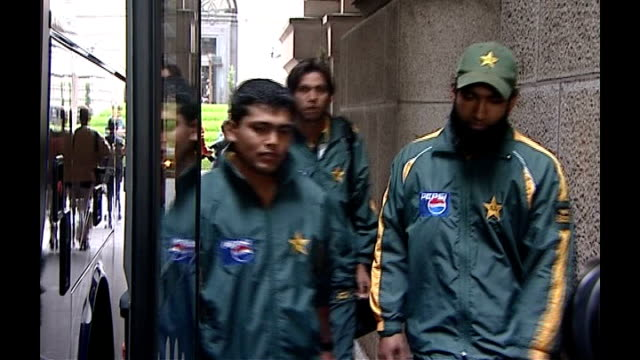 indian bowler harbhajan singh given three match ban in row over alleged racism august 2006 london members of pakistan cricket team onto team coach - cricket bowler stock videos and b-roll footage