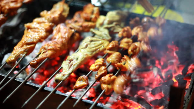 indian chef preparing assorted barbequed chicken tandoori at roadside shop - kebab stock videos and b-roll footage