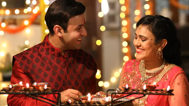 indian couple celebrating traditional festival - decoration stock videos & royalty-free footage