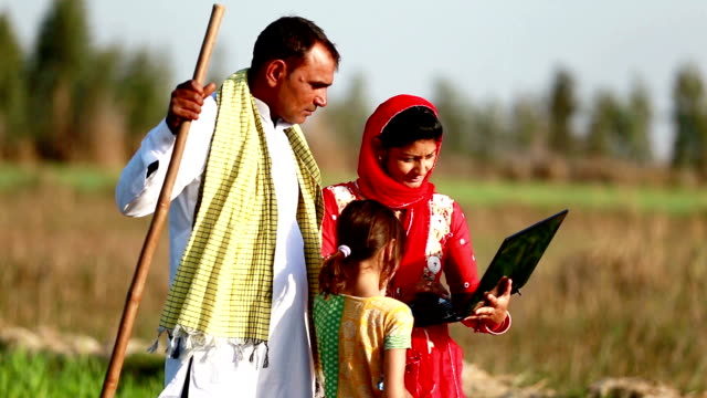 indian couple standing in green field holding laptop - turban stock videos & royalty-free footage