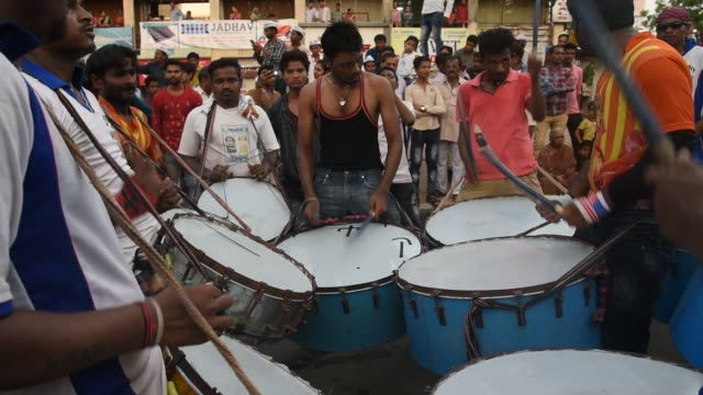 indian drummer perform traditional folk music, maharashtra, india. - musical instrument stock videos & royalty-free footage