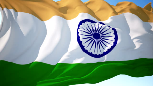 indian flag 4k loopable - anno 1947 video stock e b–roll