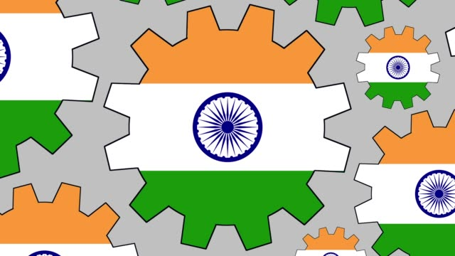 indian flag gears spinning background zooming out - indian flag stock videos & royalty-free footage