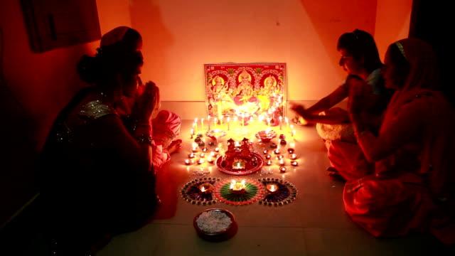 indian goddess lakshmi worshipping on diwali festival - hinduism stock videos & royalty-free footage