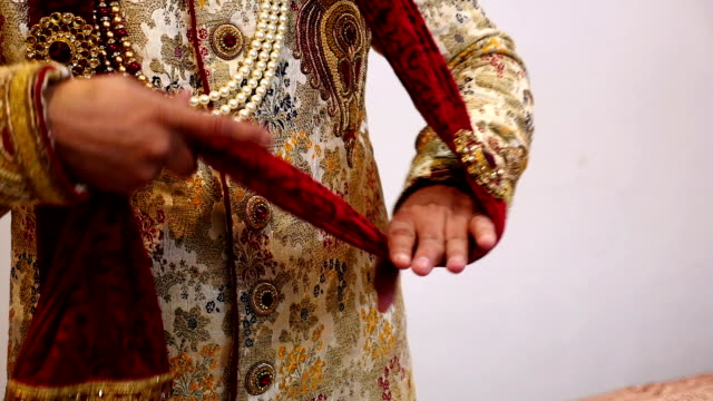 indian groom getting ready for wedding - shawl stock videos & royalty-free footage
