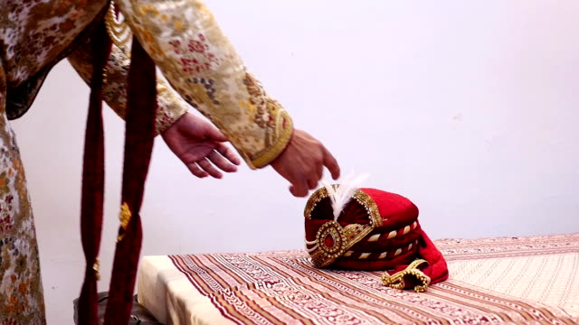 indian groom holding turban - shawl stock videos & royalty-free footage