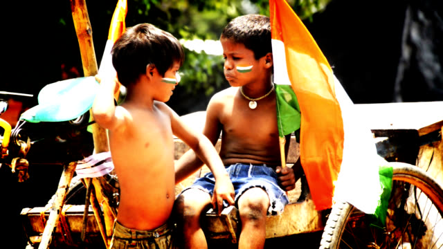 indian kids - indian flag stock videos & royalty-free footage