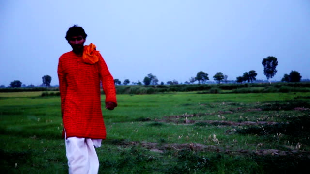 Indian monk walking through green field