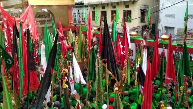 indian muslims participate in a procession of flags during the sacred islamic month muharram in ajmer rajasthan india on september 05 2019 muharram... - imam hussein stock videos and b-roll footage