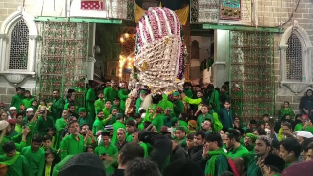 indian muslims take part in a tajia procession during the sacred islamic month muharram at the shrine of sufi saint khwaja moinuddin chishti in ajmer... - prophet stock videos and b-roll footage