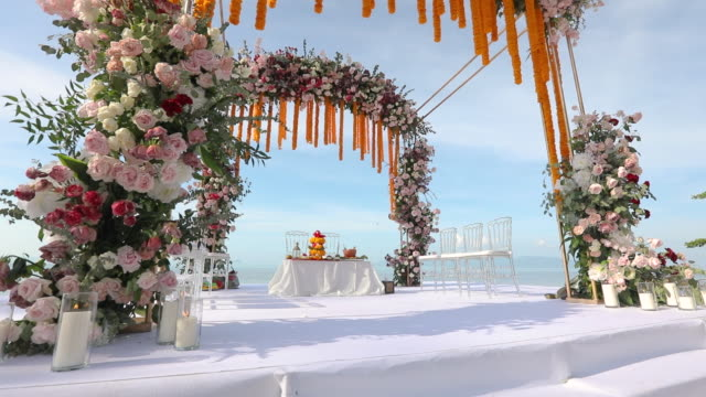 indian or hindu traditional ceremony venue decoration. - married stock videos & royalty-free footage
