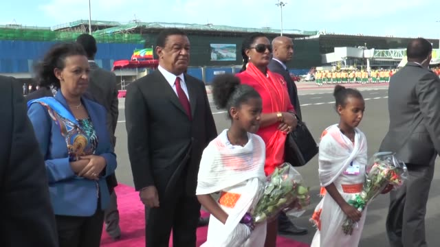 Indian President Ram Nath Kovind and his wife Savita Kovind are welcomed by Ethiopian President Mulatu Teshome Wirtu and his wife Meaza Abraham at...