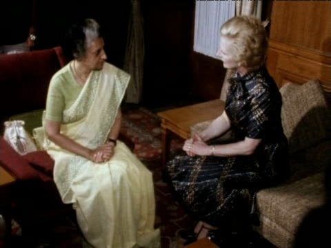 indian prime minister indira gandhi and british prime minister margaret thatcher talk while posing for photographers india sep 76 - indira gandhi stock videos & royalty-free footage