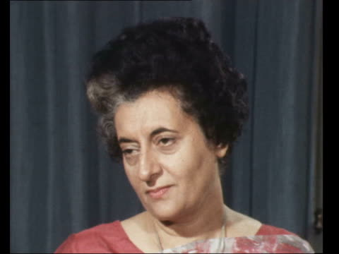 """indian prime minister mrs ghandi interview; england, london, claridges: cms mrs indira gandhi seated sof: q. asked: """"it's very serious.... zoom into... - peter snow stock videos & royalty-free footage"""