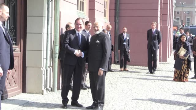 Indian Prime Minister Narendra Modi arrives at the residence of his Swedish counterpart Stefan Löfven for bilateral talks