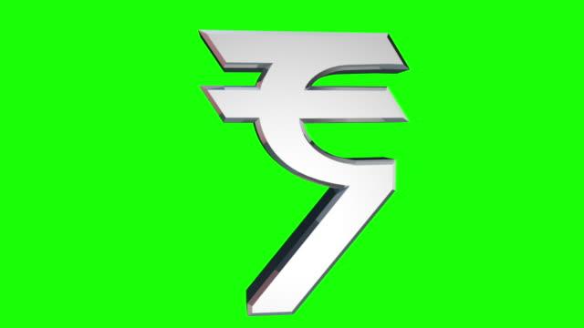vídeos de stock e filmes b-roll de símbolo de rupia indiana com verde matt - símbolo