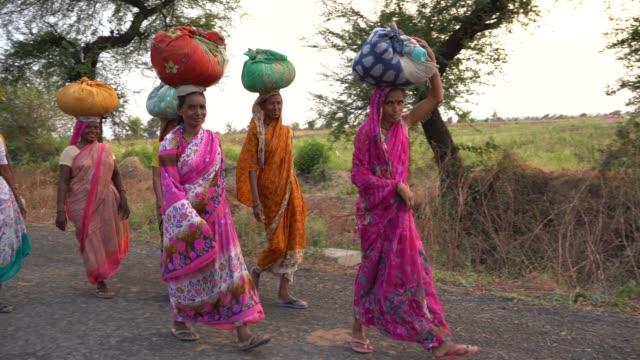 indian rural farmer women  carrying bundle. - 収穫する点の映像素材/bロール