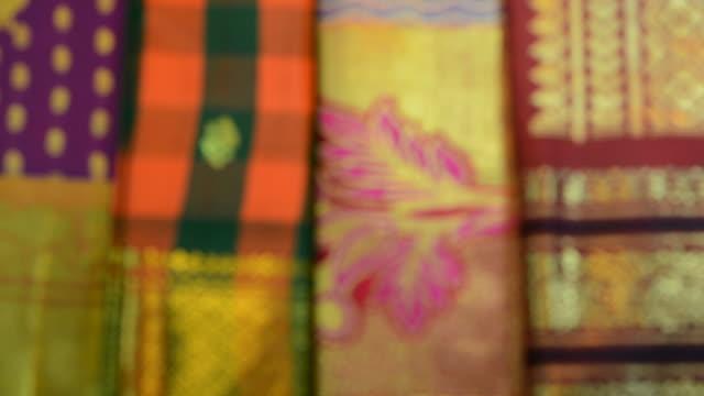 indian silk sari - sari stock videos & royalty-free footage