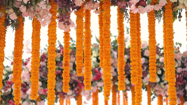 indian traditional ceremony venue decoration. - decoration stock videos & royalty-free footage