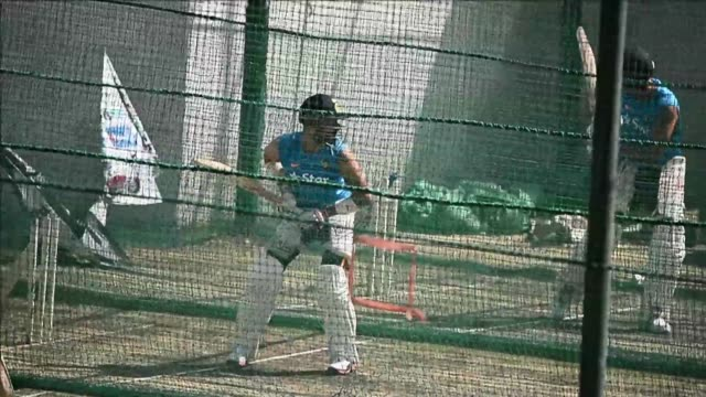 indian trains ahead of their third test cricket match against australia at the jharkhand state cricket association stadium complex in ranchi - international match stock videos & royalty-free footage