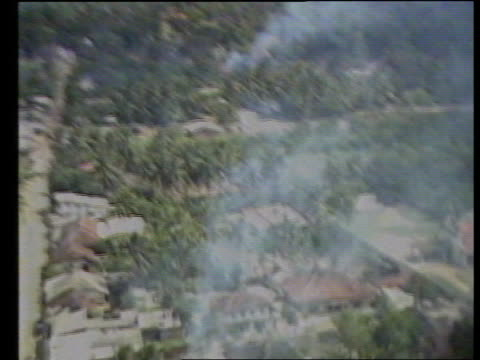 Indian troops withdraw ITN LIB Air view over wrecked villages