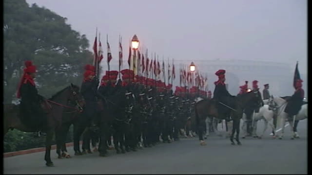 'Indian Winter' energy crisis / Environment Minister criticises Western 'hypocrisy' INDIA New Delhi EXT Indian guards on horseback outside government...