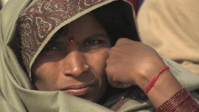 cu, indian woman with bindi forehead dot wearing scarf, portrait, allahabad, uttar pradesh, india - bindi stock videos and b-roll footage