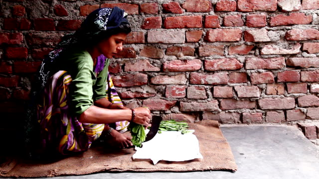 indian women cutting vegetable in traditional style - village stock videos & royalty-free footage