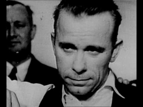 ws indiana farm where gangster john dillinger is from / cu dillinger / mercer wi car riddled with bullet holes with window blown out person faces... - john dillinger stock-videos und b-roll-filmmaterial