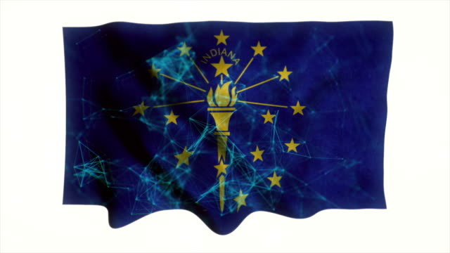 indiana flag waving animation - country geographic area stock videos & royalty-free footage