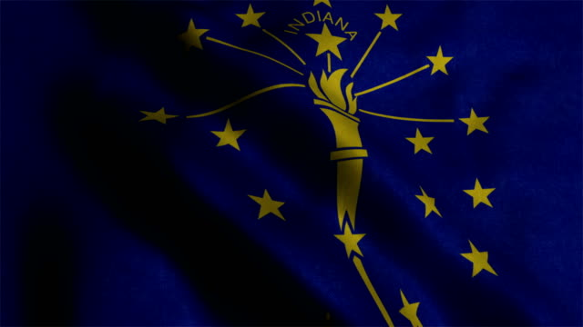 indiana flag waving animation - indiana stock videos & royalty-free footage