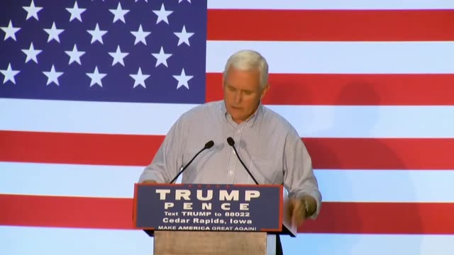 Indiana Governor and Donald Trump running mate Mike Pence speaks at a town hall at Modern Companies in Cedar Rapids Iowa calling on Hillary Clinton...