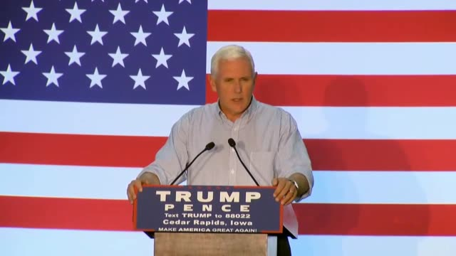 Indiana Governor and Donald Trump running mate Mike Pence speaks at a town hall at Modern Companies in Cedar Rapids Iowa telling the audience that...