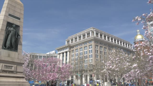 indiana plaza and spring blossom on pennsylvania avenue, washington dc, united states of america, north america - pennsylvania avenue stock videos & royalty-free footage