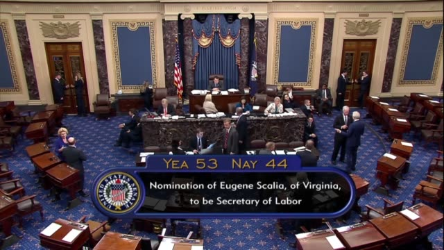 indiana senator todd young announces that the senate voted to confirm eugene scalia as secretary of labor by a vote of 53-44. - senate stock videos & royalty-free footage