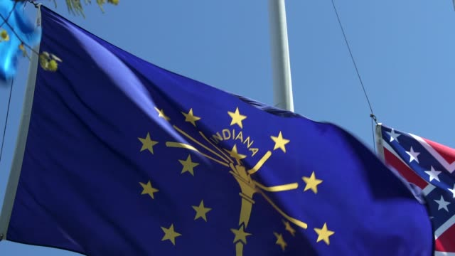 indiana state flag waving in the breeze - indiana stock videos & royalty-free footage