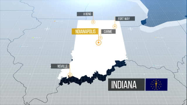 indiana state map - indiana stock videos & royalty-free footage