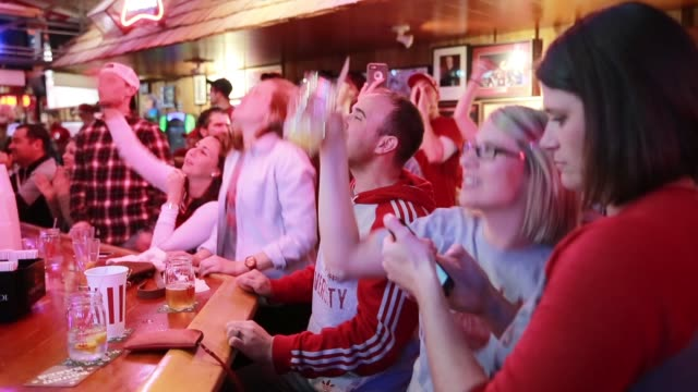 Indiana University fans celebrate after the Indiana University Hoosiers beat University of Kentucky during the NCAA tournament Saturday March 19 2016...