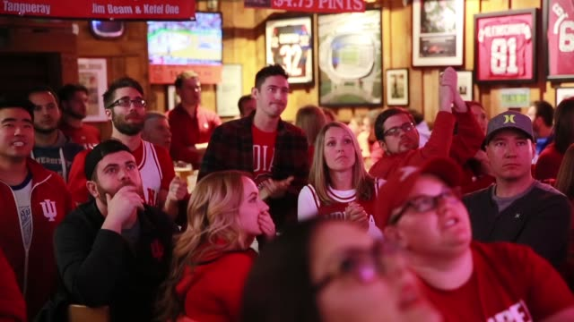Indiana University fans cheer for the Indiana University Hoosiers who are playing basketball against against University of Kentucky during the NCAA...