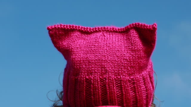 indianapolis, indiana, usa: a women's march 2018 participant wears a pussy hat while listening to speakers before in indianapolis, indiana to the... - hut stock-videos und b-roll-filmmaterial