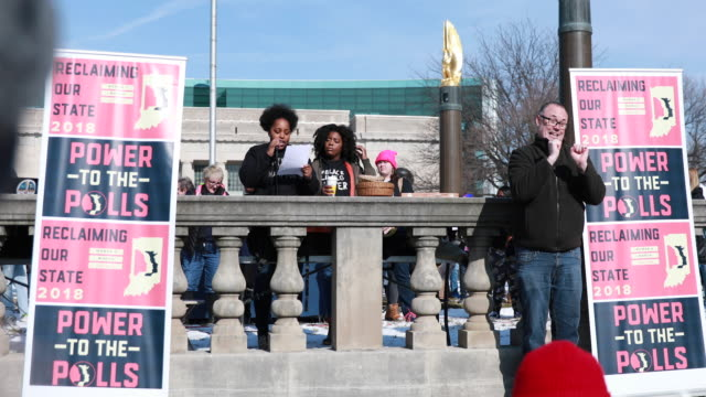 indianapolis, indiana, usa: leah humphrey, and kyra harvey, community activists for indy 10 black lives matter, speak as women gather before marching... - midterm election stock videos & royalty-free footage