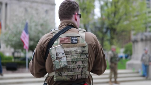 Members of a III percent militia act as a security force during a ProFreedom rally at the Indiana Statehouse in support of gun rights and the Second...