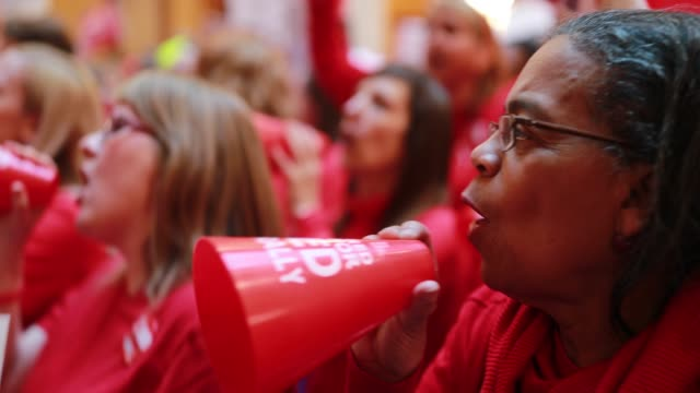 teachers and supporters pack the indiana statehouse for the red for ed rally saturday march 9 2019 the teachers are demanding higher pay and more... - gewerkschaft stock-videos und b-roll-filmmaterial