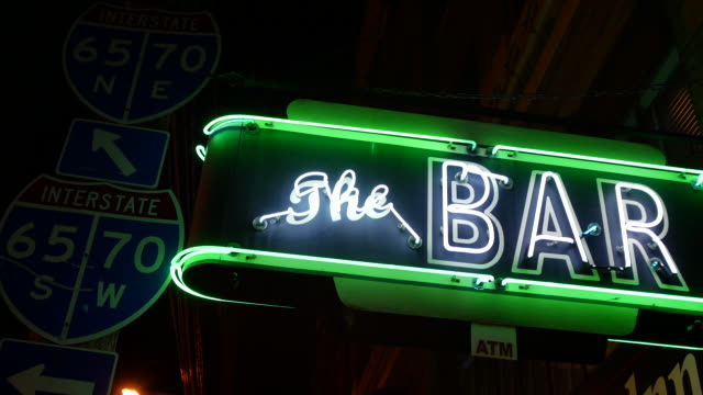 Vintage neon for the Bar in the Fountain Square Theater Building in the Fountain Square neighborhood of Indianapolis
