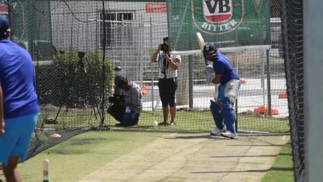 indias cricketers train in canberra ahead of the fourth one day international against australia - canberra stock videos and b-roll footage