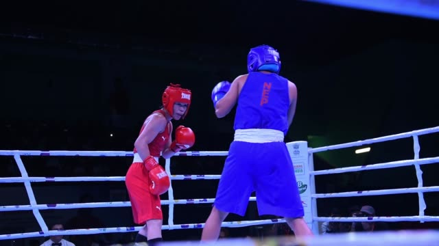 India's MC Mary Kom competes against Mala Rai of Nepal during the 51 kg quarterfinal match at the India Open International Boxing Tournament in...