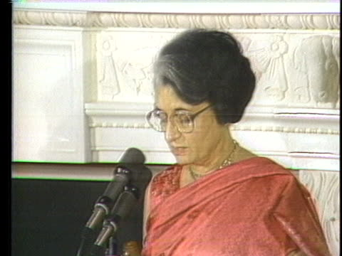india's prime minister indira gandhi states in a white house speech that her country is against foreign troop intervention in the internal affairs of... - healthcare and medicine or illness or food and drink or fitness or exercise or wellbeing stock videos & royalty-free footage