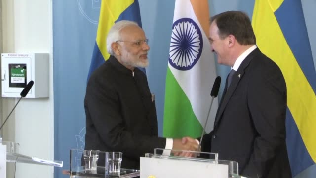 India's Prime Minister Narendra Modi and his Swedish counterpart Stefan Löfven announce they'll strengthen the cooperation between their two countries