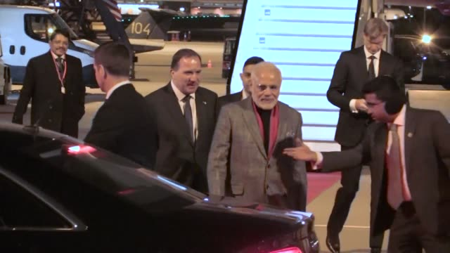India's Prime Minister Narendra Modi arrives in Stockholm where he is greeted by his Swedish counterpart Stefan Lofven