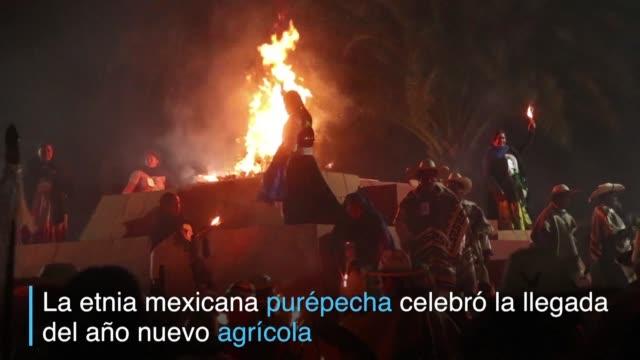 indigenas de la etnia purepecha del estado mexicano de michoacan celebran la llegada del nuevo ano agricola con una tradicion prehispanica - etnia stock videos and b-roll footage